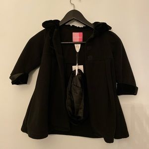 NWT 2T Girl's Black Coat With Hat